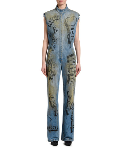 Range of Emotions Graffiti Denim Racing Jumpsuit