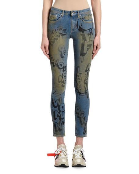 Off-White Range of Emotions Graffiti-Print Crop Skinny Jeans