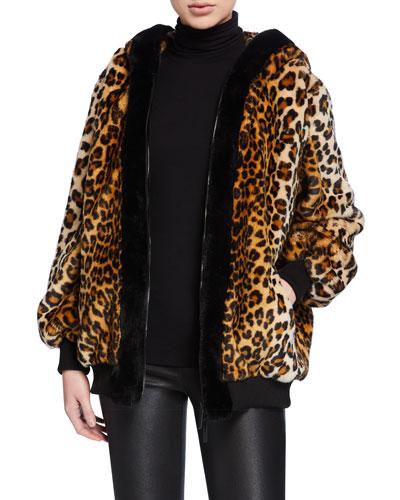 Leopard-Print Faux Fur Oversized Hoodie