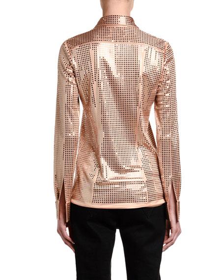 Bottega Veneta Mirror-Ball Jersey Button-Front Blouse
