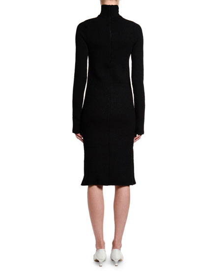 Image 2 of 4: Bottega Veneta Silk Sable Chain-Yoke Turtleneck Dress