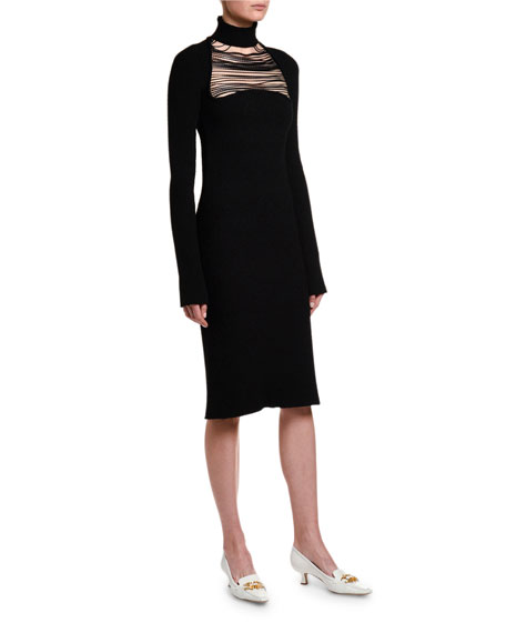 Image 3 of 4: Bottega Veneta Silk Sable Chain-Yoke Turtleneck Dress