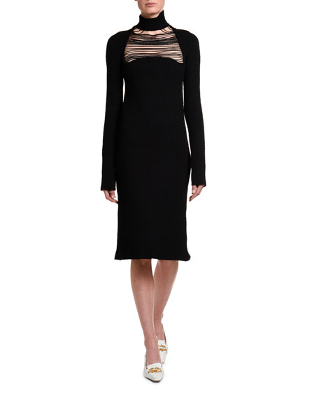 Image 1 of 4: Bottega Veneta Silk Sable Chain-Yoke Turtleneck Dress