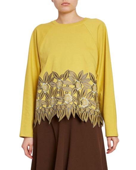 Dries Van Noten Crewneck Rose-Embroidered Lace-Hem Sweatshirt