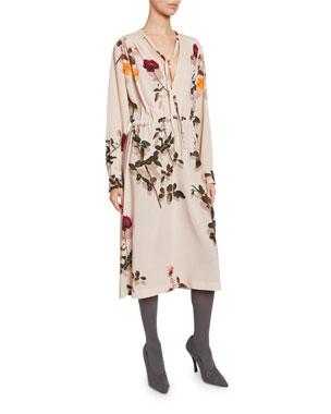 d0052c92c9 Dries Van Noten Flower-Print Long-Sleeve V-Neck Dress