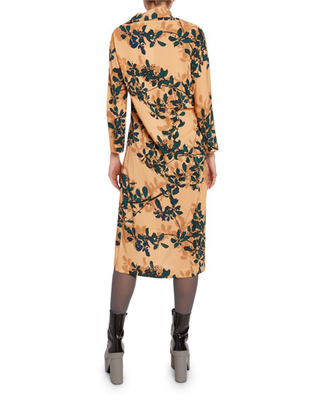 Dries Van Noten Leaf-Print Jersey 3/4-Sleeve Cocktail Dress