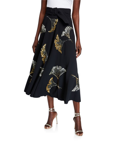 Sequined Belted Midi Skirt