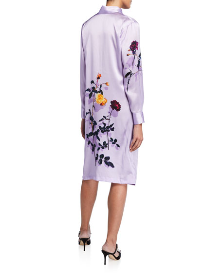 Dries Van Noten Floral-Print Silk Satin Shirtdress