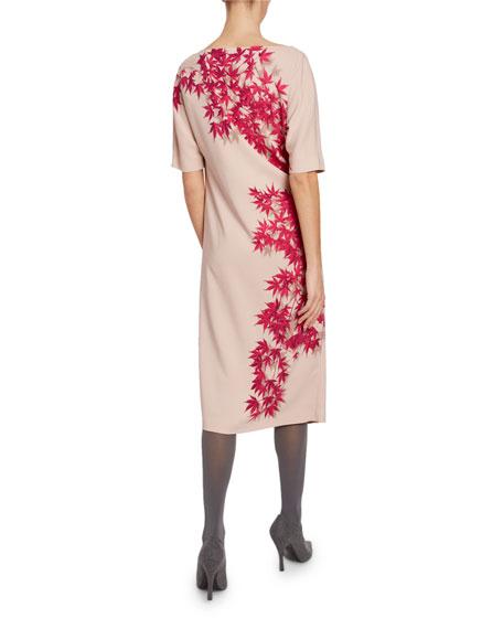 Dries Van Noten Ora Floral-Print 1/2-Sleeve Shift Dress