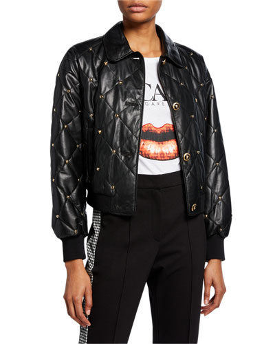 Quilted Button-Front Bomber Jacket