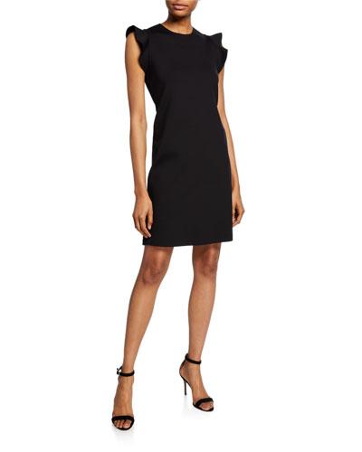 Delena Ruffle-Sleeve Scuba Dress