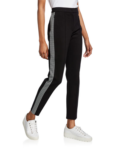 Tamianne Houndstooth Tuxedo-Striped Pants