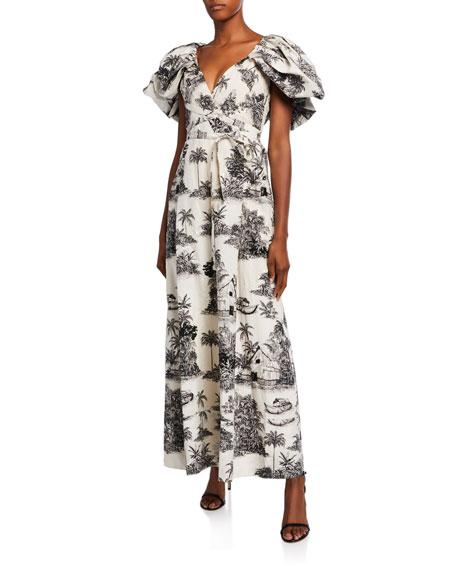 Johanna Ortiz Off-the-Shoulder Landscape Print Poplin Gown