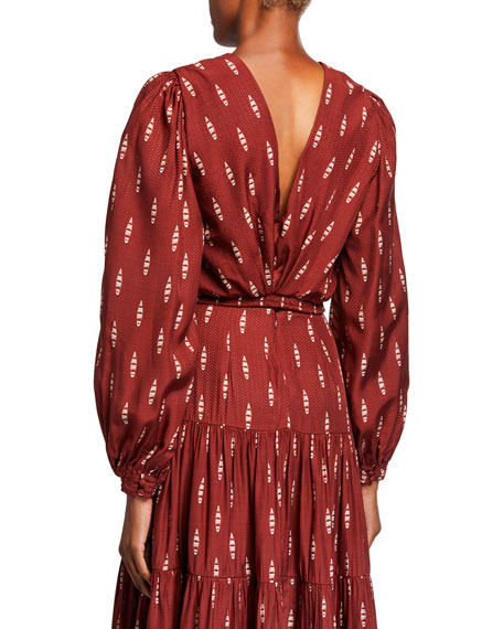Image 2 of 2: Johanna Ortiz Canoe-Print Long-Sleeve Blouse