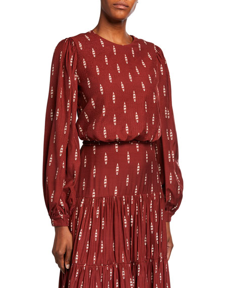 Image 1 of 2: Johanna Ortiz Canoe-Print Long-Sleeve Blouse