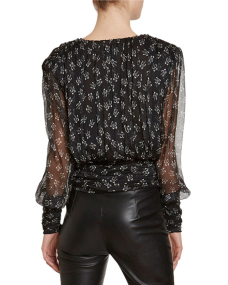 Redemption Butterfly-Print Draped Chiffon Blouse