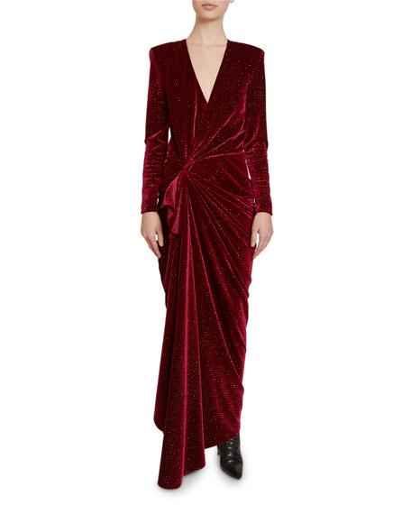 Redemption Glittered Velvet Long-Sleeve Wrap Gown