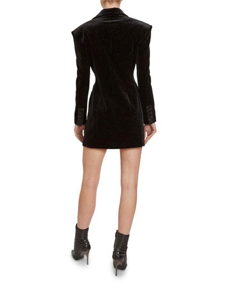 Redemption Glittered-Velvet Tuxedo Mini Dress