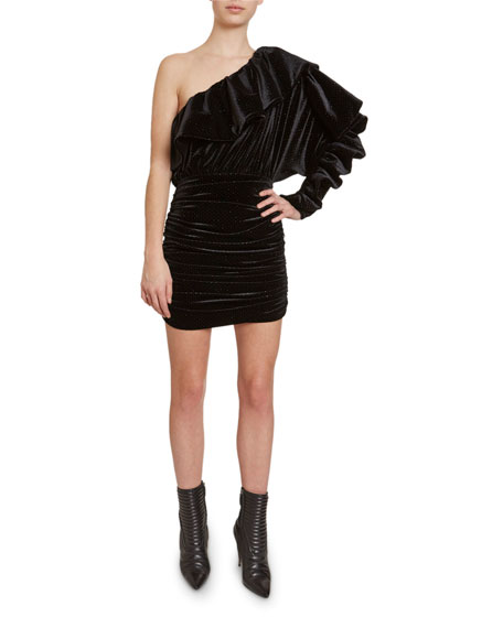Redemption One-Shoulder Glittered Velvet  Dress