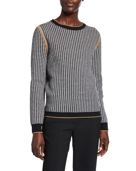 Maxmara Colle Houndstooth Wool-Cashmere Sweater