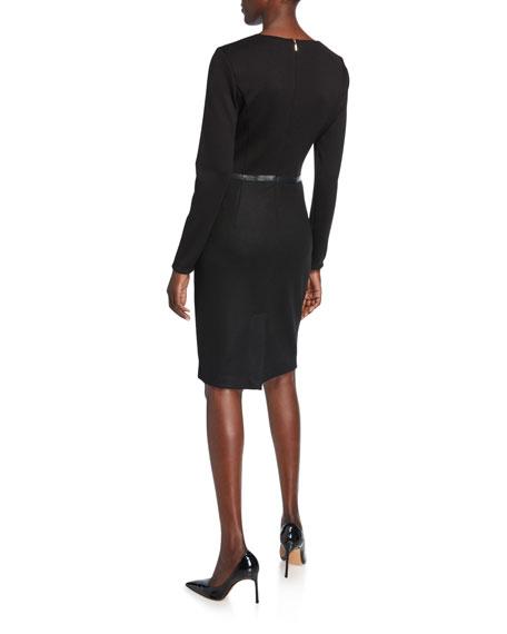 Maxmara Xeno Leather-Trim Jersey Long-Sleeve Dress