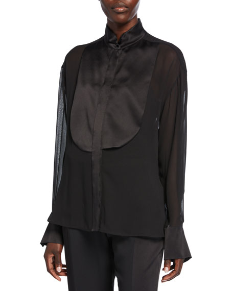Maxmara Danae Silk Tuxedo Shirt