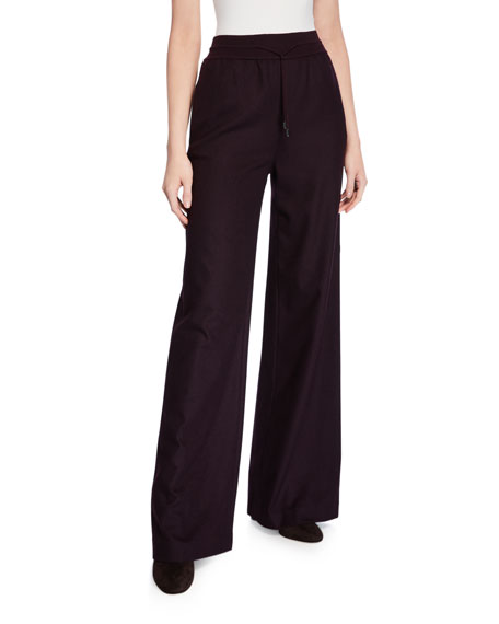 Loro Piana Kevan Cashmere Flannel Wide-Leg Pants
