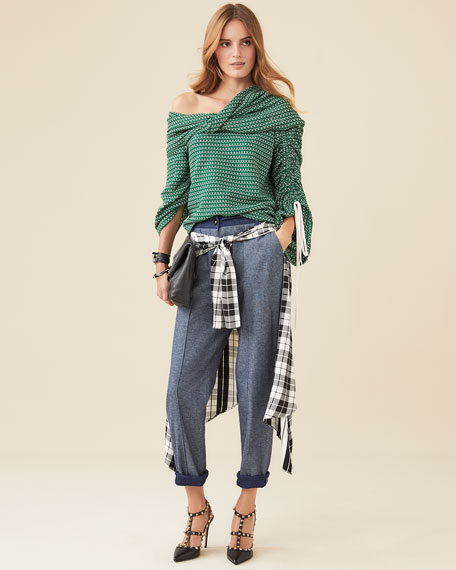 Hellessy Sentry Boyfriend Jeans w/ Plaid Silk-Satin Wrap