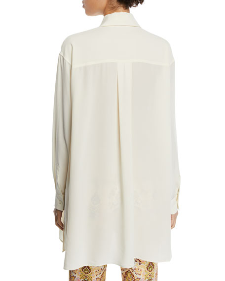 Etro Floral-Embroidered Button-Front Blouse