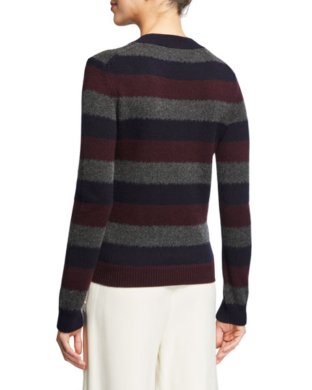 Loro Piana Striped Baby Cashmere Crewneck Sweater