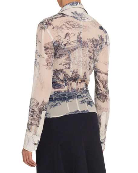 Chloe Toile Silk Button-Front Blouse