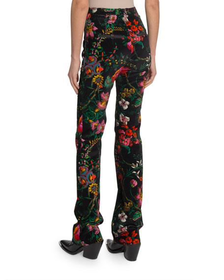 Paco Rabanne High-Rise Velvet Floral Skinny-Leg Pants