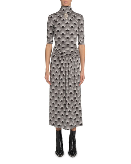 Paco Rabanne Art Deco Jersey Brooch Turtleneck Dress