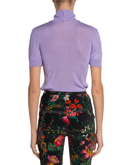 Paco Rabanne Mesh-Yoke Short-Sleeve Turtleneck Sweater