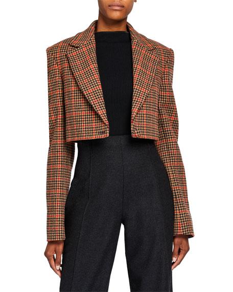 Oscar de la Renta Plaid Wool Crop Jacket