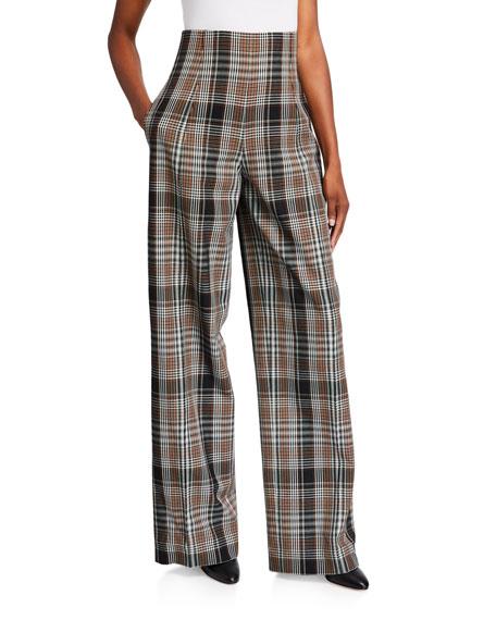 Oscar de la Renta Plaid Wool Wide-Leg Pants