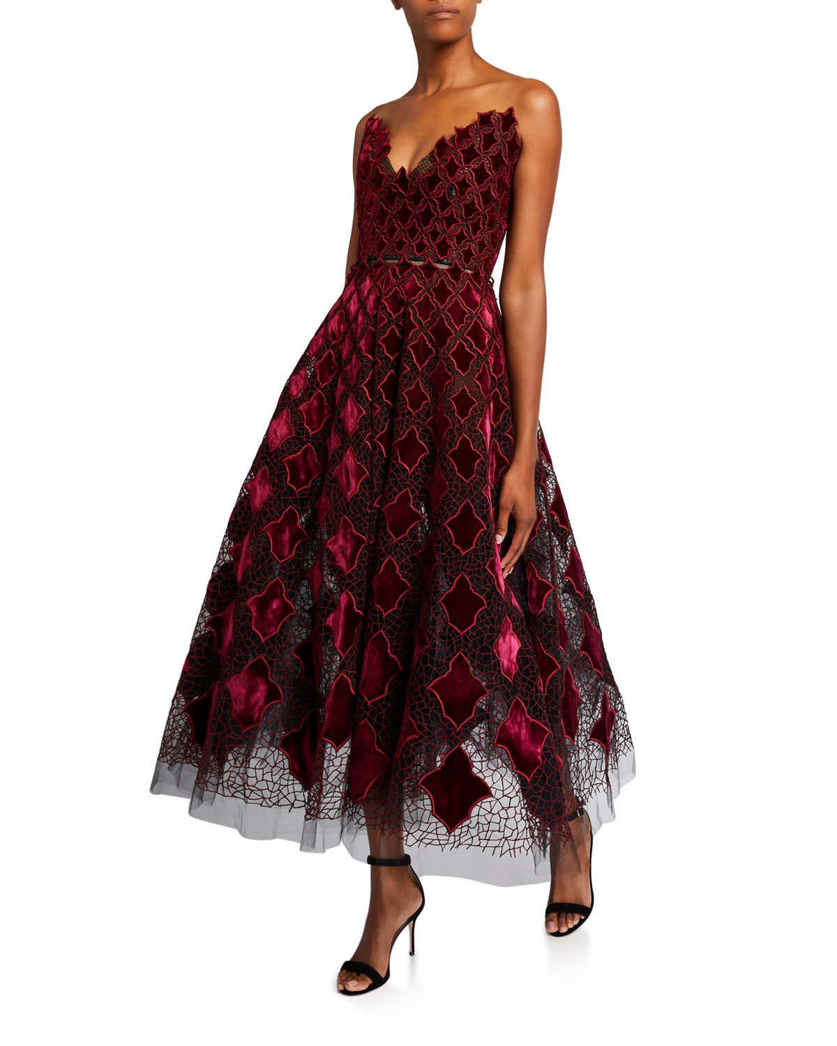Strapless Velvet Embroidered Tea Length Dress by Oscar De La Renta