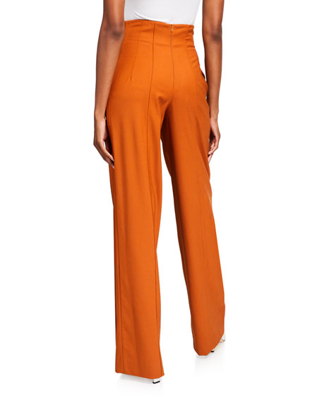 Oscar de la Renta Stretch Wool Wide-Leg Pants