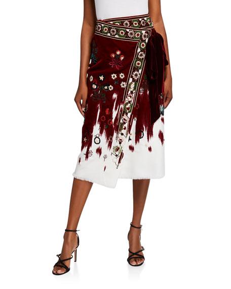 Oscar de la Renta Embroidered Wrapped Skirt