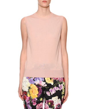 5434278166 Dolce   Gabbana Sleeveless Crewneck Cashmere-Silk Shell Top