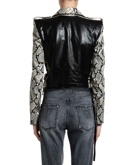 UNRAVEL Python-Print Leather Biker Jacket