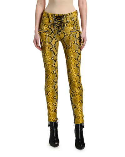 Snake-Print Leather Lace-Up Pants