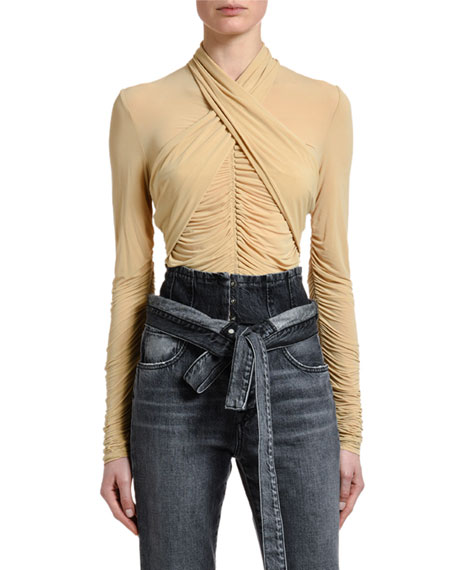 UNRAVEL Center-Ruched Wrapped Jersey Top