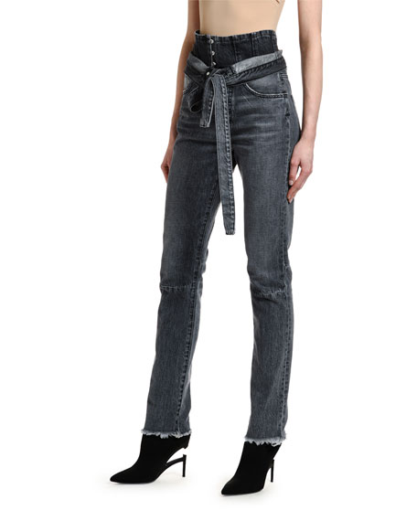 UNRAVEL Corseted High-Rise Skinny Jeans
