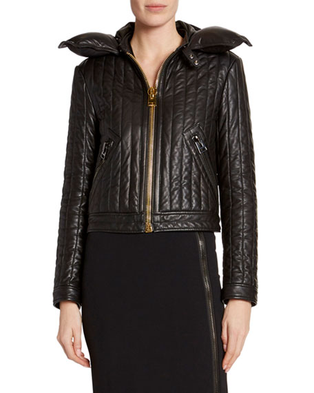 TOM FORD Leather Channeled Zip-Front Jacket