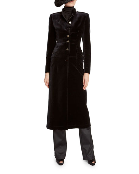 TOM FORD Velvet Stand-Collar Military Coat