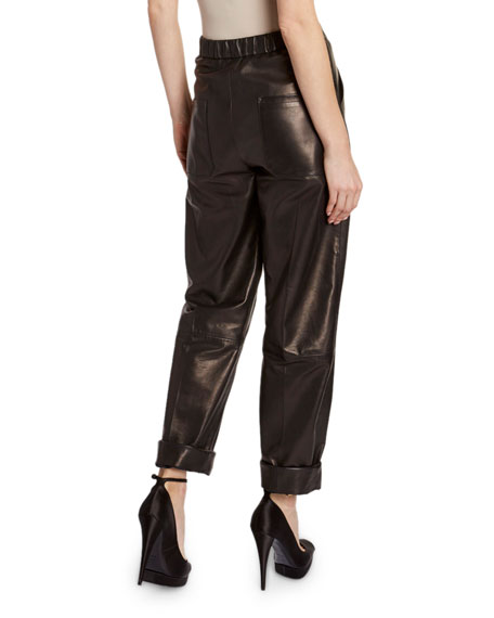 TOM FORD Leather Front-Pleated Crop Pants