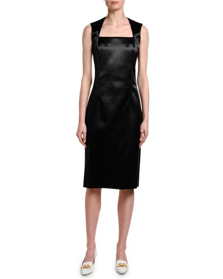Bottega Veneta Square-Neck Satin Sheath Dress
