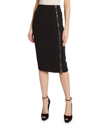Slim Cady Midi Skirt with Georgette Insert & Exposed Side Zip