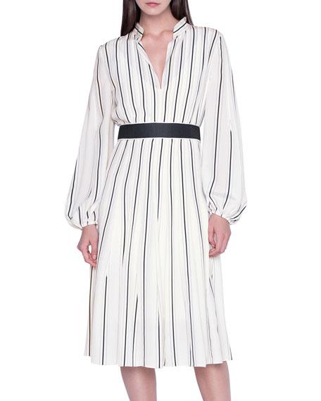 Akris Striped Silk Banded-Collar Dress